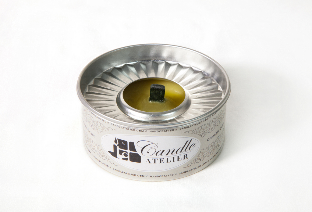 Fragrance-free, Natural Wax Outdoor Candle. Decorative Tin Can, for Outdoor Use.