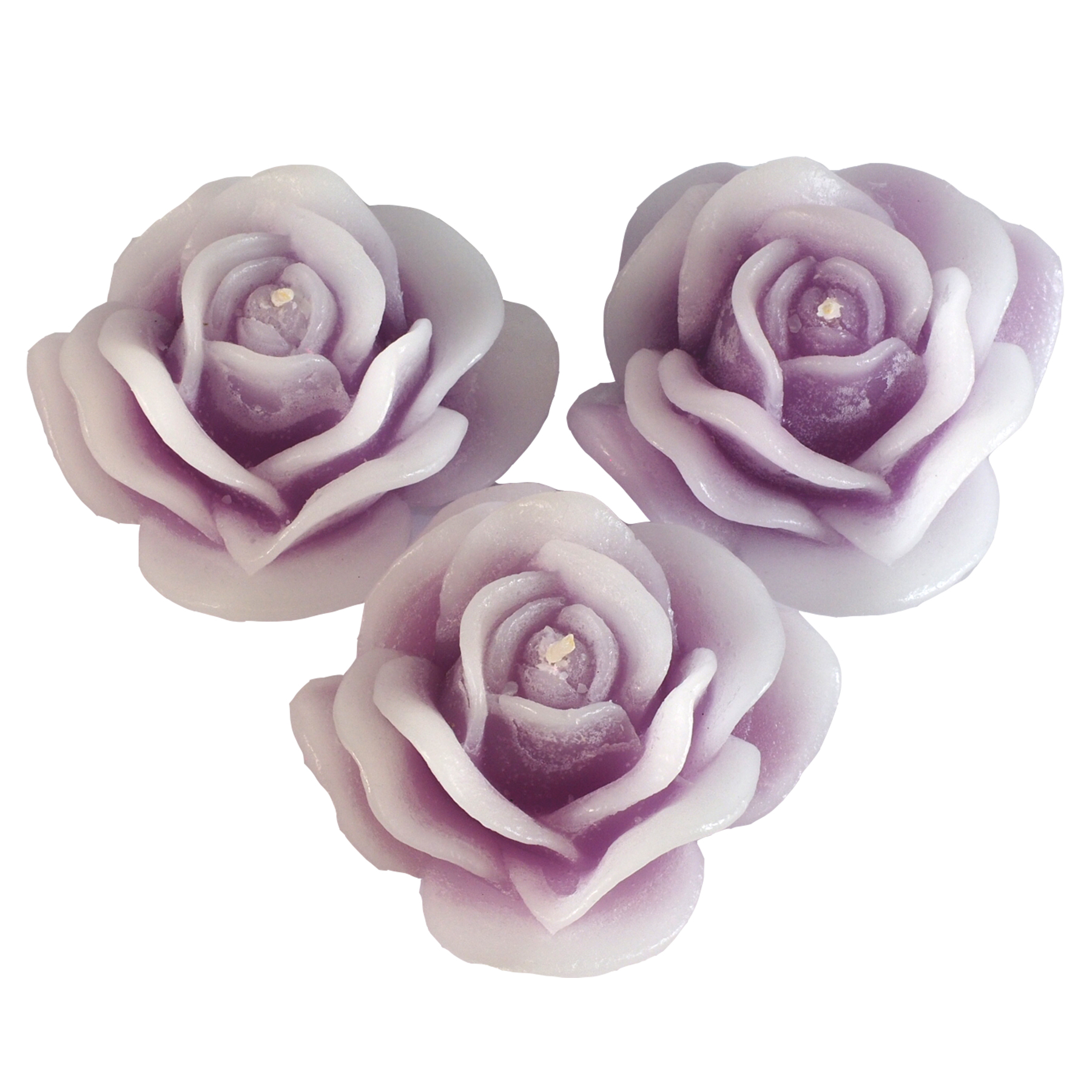 Tender Lilac 'Blooming Rose' Handmade Cast Candles, Fragrance-free, Set of 3